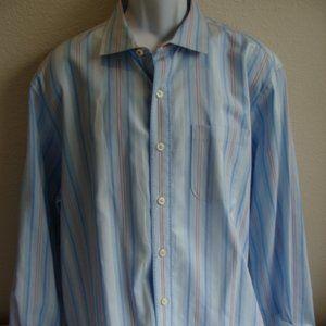 Tommy Bahama Blue Striped Cotton Shirt Size XL